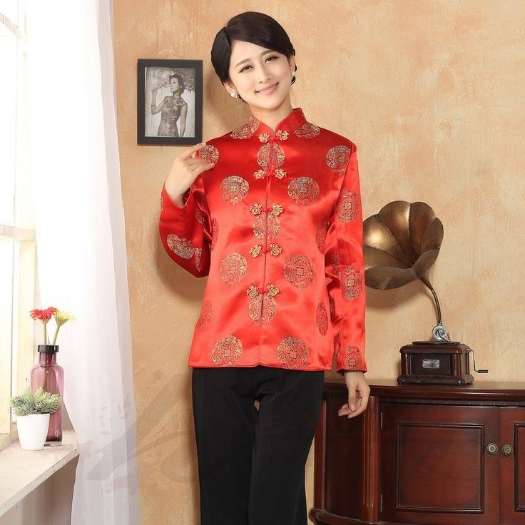 Delightful Brocade Frog Button Chinese Jacket - Scarlet - Chinese Jackets & Coats - Women
