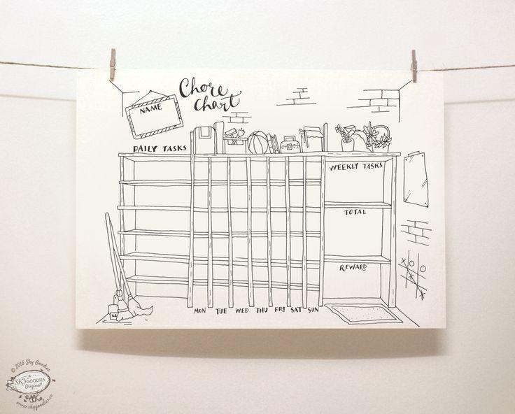 Faire ces corvées ennuyeuses, un peu plus de plaisir avec ce doodle corvée graphique! Parfait pour les enfants ou adultes, cet agenda accueille les tâches quotidiennes, ce qui peuvent être cochés que vous avancez. À la fin de la semaine, les additionner et faites-vous plaisir! Organisez-vous et profiter de lunatiques illustrations dessinées à la main. Suffit d'imprimer un chaque semaine sur votre imprimante à la maison et rendre vos notes.  Imprimable en une seule couleur - noire, sur une…