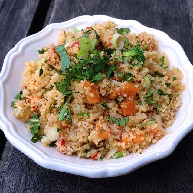 Eat, Fast and Live Longer. A 5-2 Fast Day Recipe Idea Under 200 Calories. Cauliflower Couscous with Fresh Harissa, Roasted Capsicum and Swee...