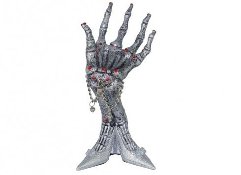 PORTA GIOIE SCHELETRO SCARPA. Porta gioielli scheletro a forma di scarpa di colore argento con brillantini e stelo per appendere collane e/o bracciali