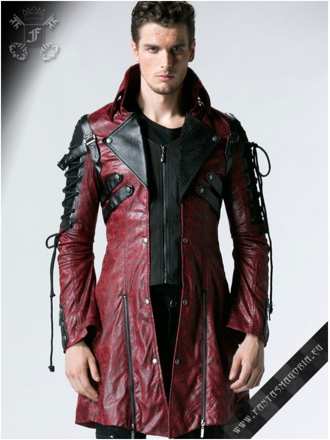 Poisonblack - men s Gothic style red jacket by Punk Rave. Code   Y-349-red-male   Leather Crew   Jackets, Mens fashion, Leather men c08a9daf00