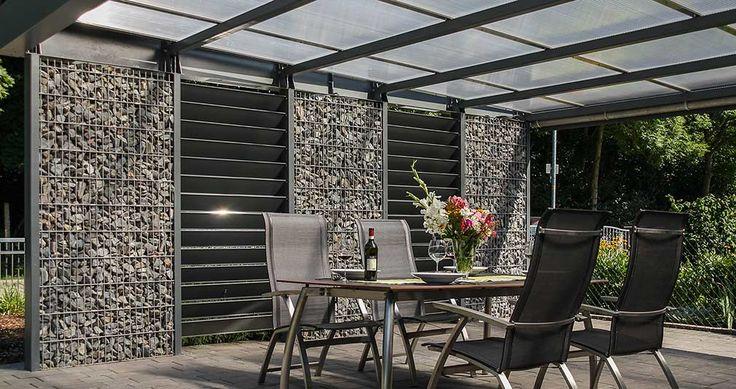 gabionen carport als unterstand f r sitzgelegenheit oder terassen berdachung architekturen. Black Bedroom Furniture Sets. Home Design Ideas