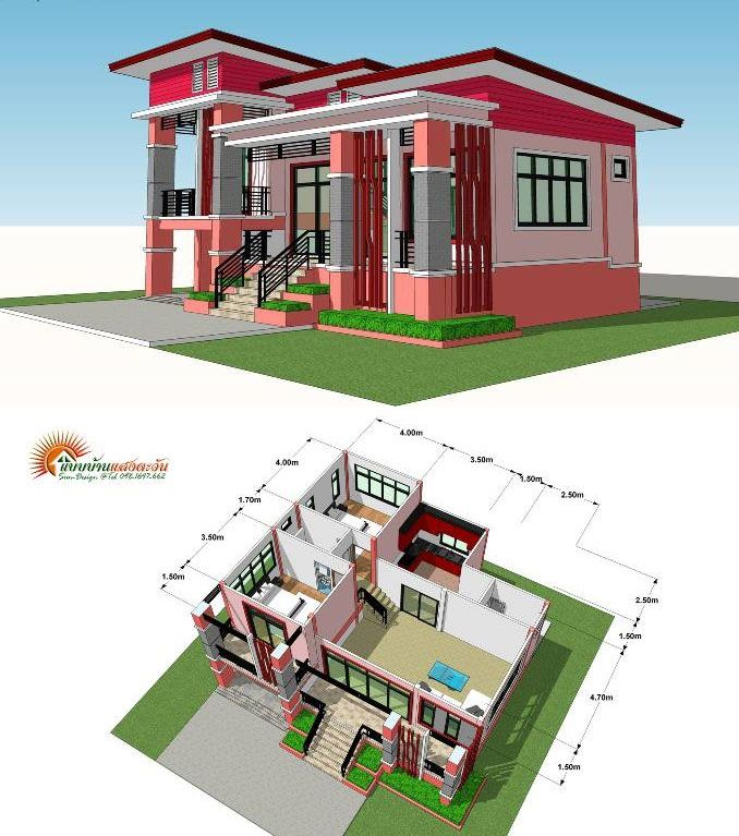 Modern Elevated Two Bedroom One Storey House One Storey House Modern Bungalow House Small House Design Plans