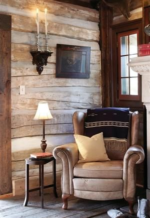 Photo: Decor, Interior, Dream, Log Cabins, Reading Corner, Reading Nooks, Leather Chairs, Rustic