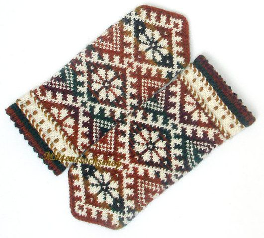 Mittens Knitted mittens Patterned mittens Wool by MittensSocksShop