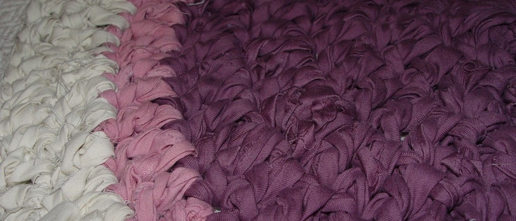 plum, tea rose, cream crochet rag rug. €30.00, via Etsy.