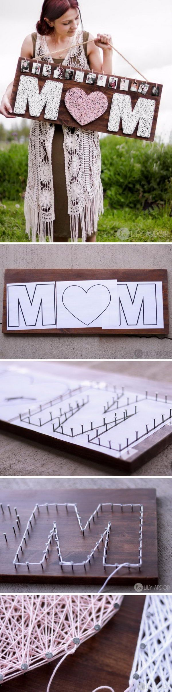 DIY: String Art Mother's Day/Christmas/Birthday Gift. SO cute! I love this.