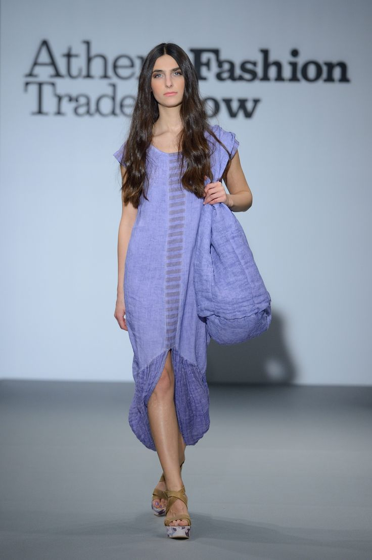 Amazing levander linen dress with gauze finish and linen bag.  100% Natural dress