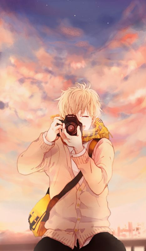 anime guy taking picture