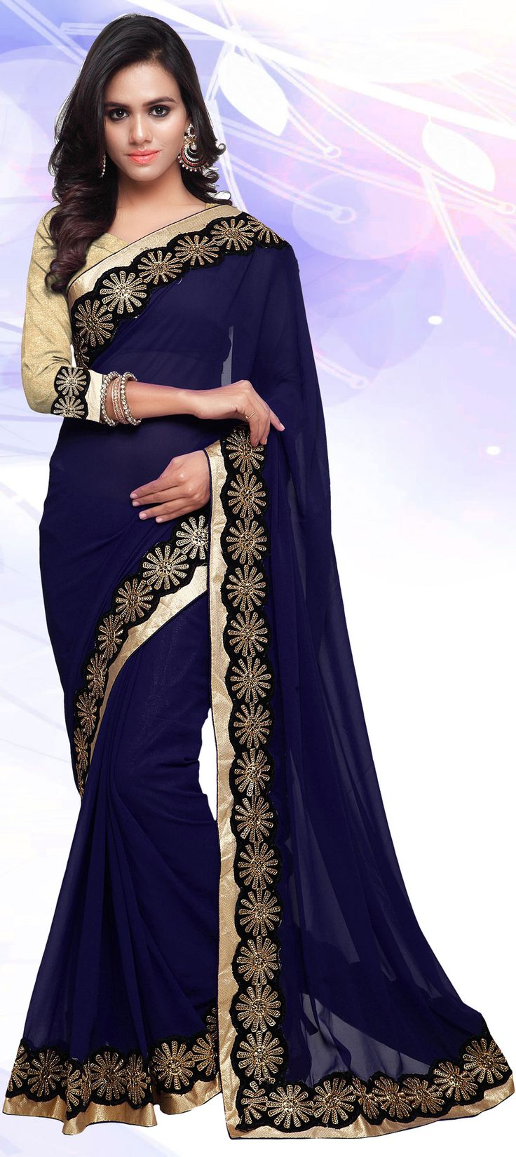 183187: Blue color family Embroidered Sarees, Party Wear Sarees with matching unstitched blouse.