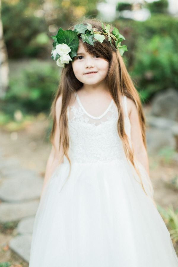 Adorable flower girl: http://www.stylemepretty.com/california-weddings/pasadena/2016/07/08/they-said-i-do-on-the-same-day-her-grandparents-did-50-years-earlier/ | Photography: Koman Photography - http://komanphotographyblog.com/
