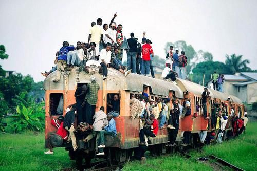 Kinshasa,largest city of the Democratic Republic of the Congo. The city is located on the Congo River. ~~~~ 9.000.000 people, 1 commuter train.