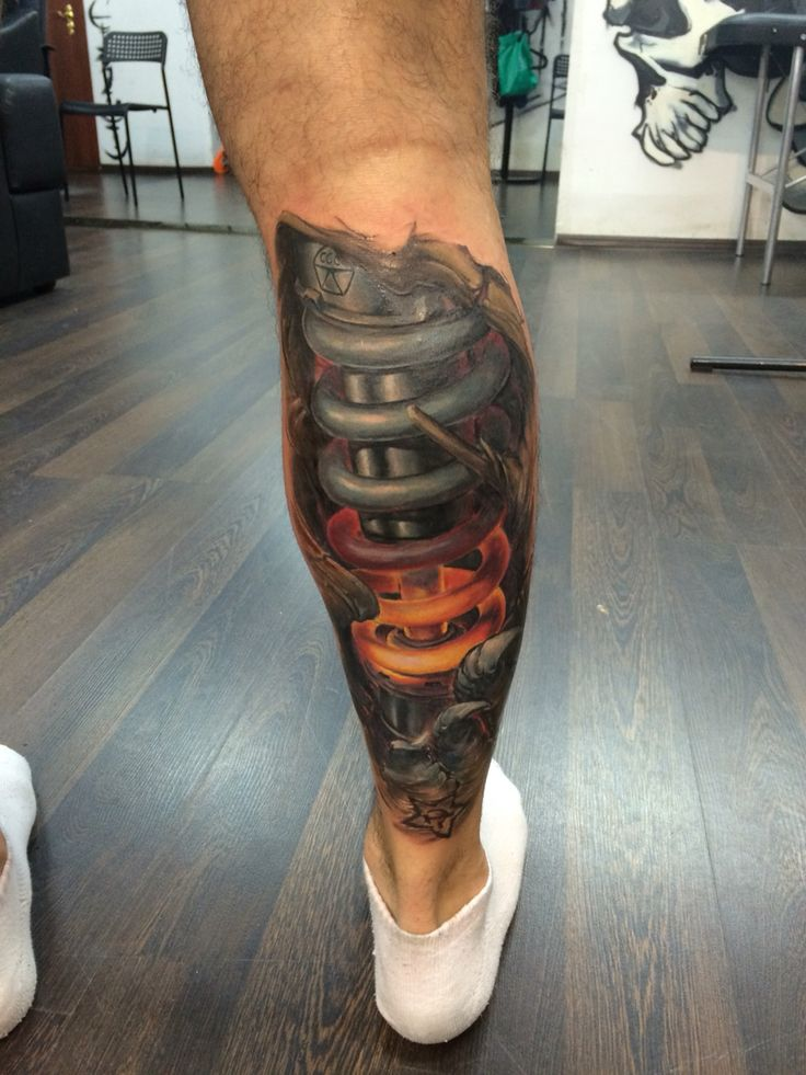 Motocross tattoo Biomeh tattoo leg motocrosstattoo ohlins амортизатор тату