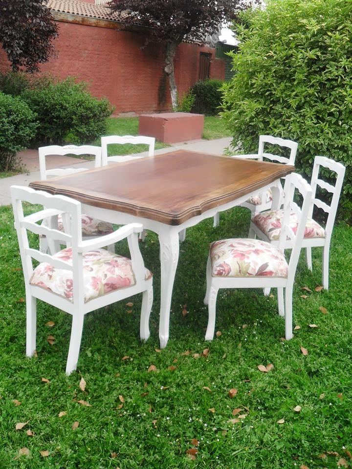 Mesa blanca decapada con cubierta de madera , sillas normando  con tapiz a elección: https://www.facebook.com/DecoraMueblesRetro
