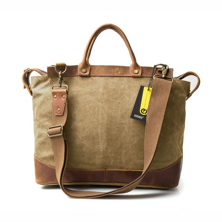 Beige canvas & leather bag for your weekend travel in vintage style