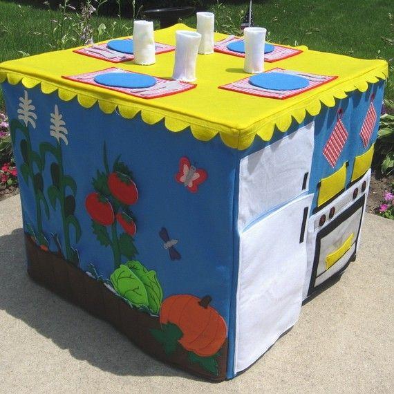 Bridge table play house - farm to table.  The fridge is the door-I love it!