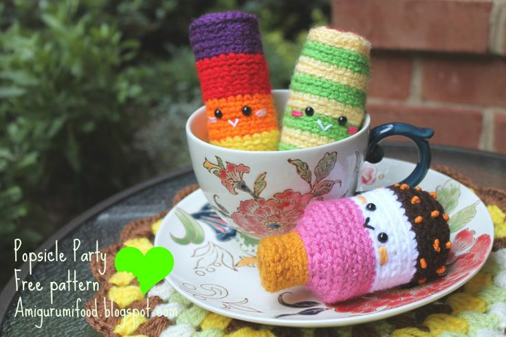 Party popsicle, found on : http://amigurumifood.blogspot.nl/search/label/Free%20pattern