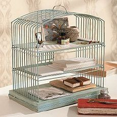 Vintage old Bird Cage Desk Organizer; upcycle, recycle, salvage, diy, repurpose! For ideas and goods shop at Estate ReSale & ReDesign, Bonita Springs, FL