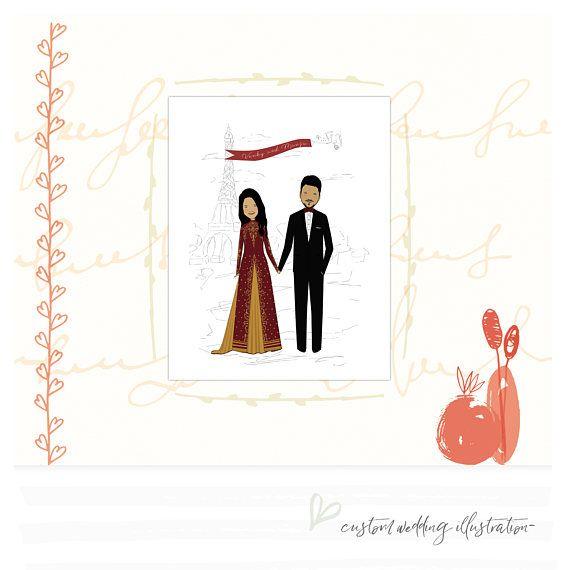 Custom Wedding Portrait Custom Couple Portrait Personalized