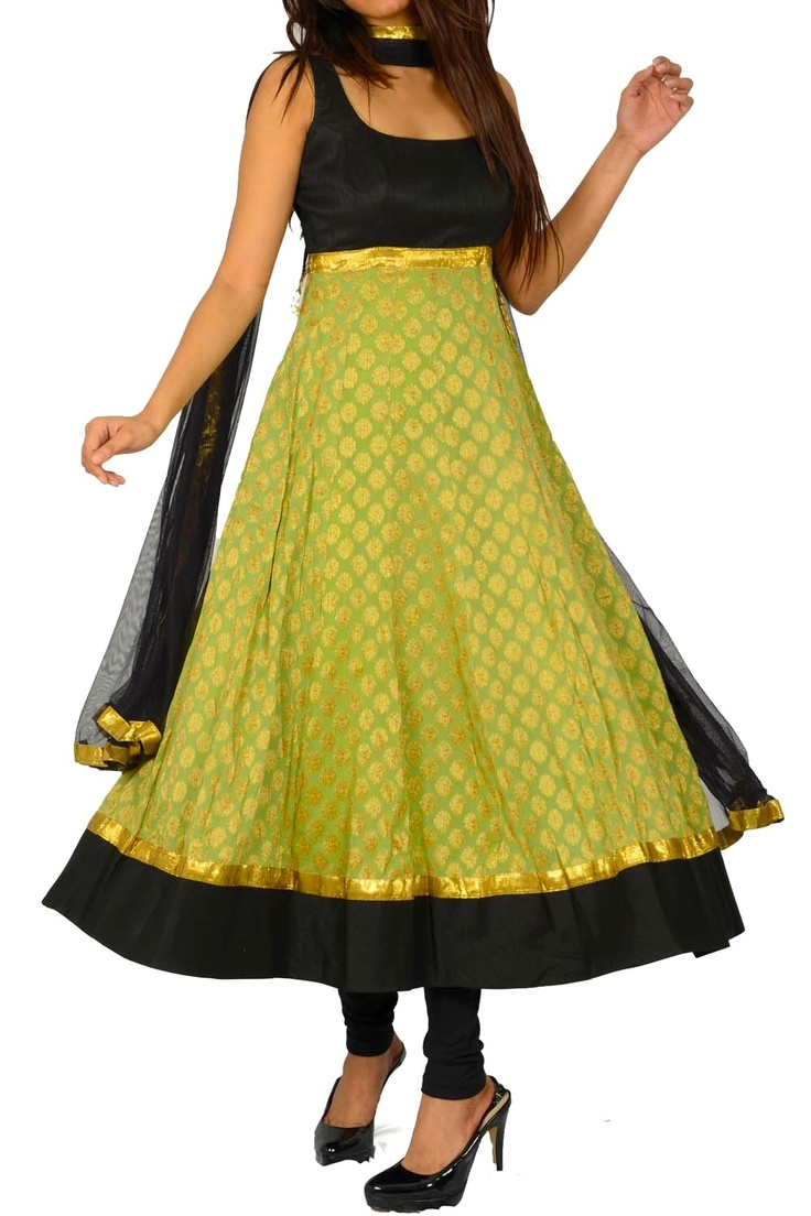 Black and Green Anarkali dress