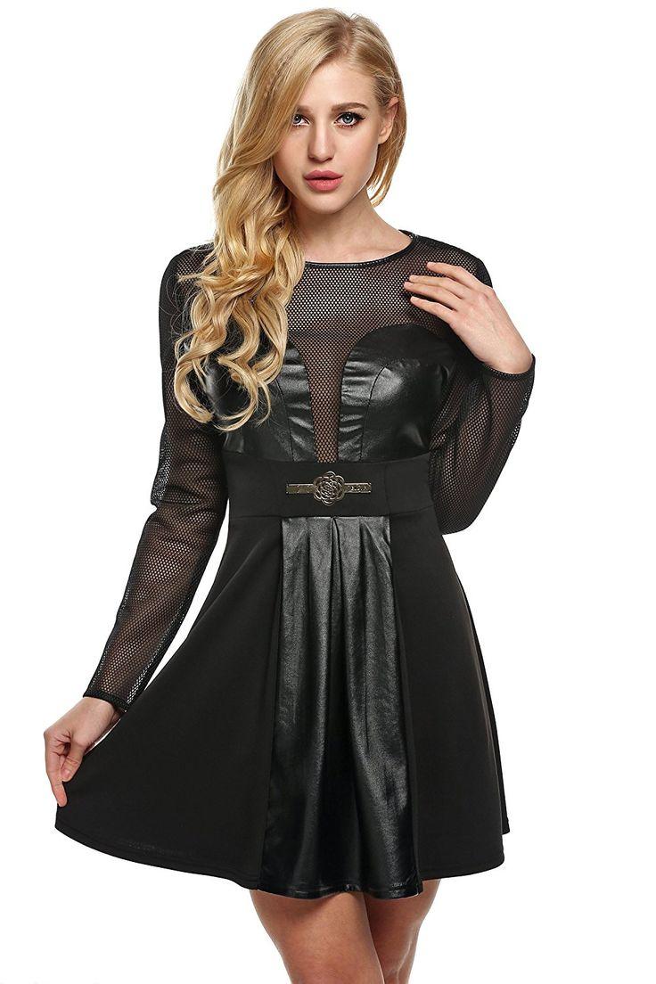 ZEARO Minikleid Damen Sexy Skaterkleid Leather Langarm A-line Minidress Rock: Amazon.de: Bekleidung