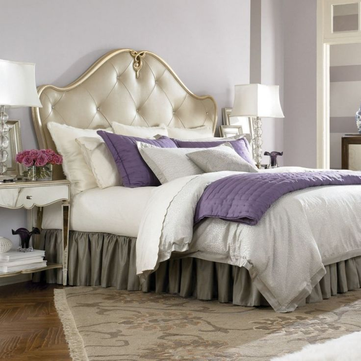 Bedroom Luxury White Bed Plus Purple Accents Between White Table Lamps Combined With Grey Wall Also
