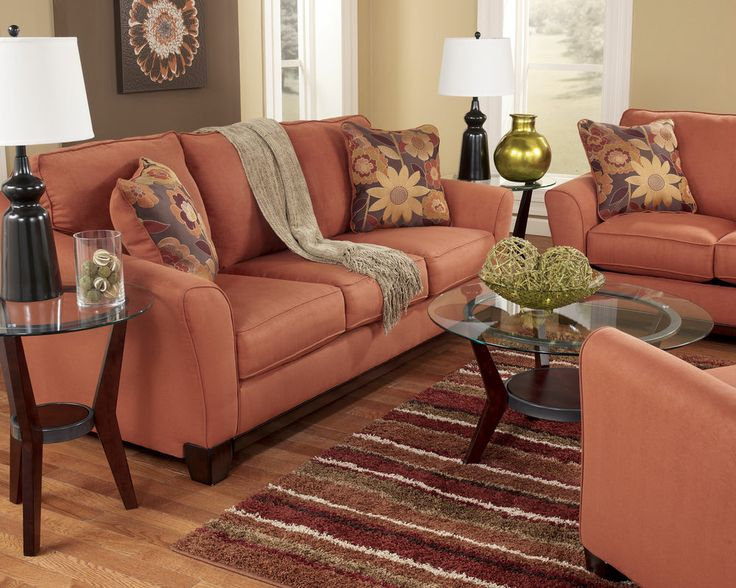 RUSSET MODERN CONTEMPORARY SOFA LOVESEAT SET COUCH LIVING ROOM FURNITURE  ORANGE | Living Room | Pinterest | Modern Contemporary, Living Room  Furniture And ...
