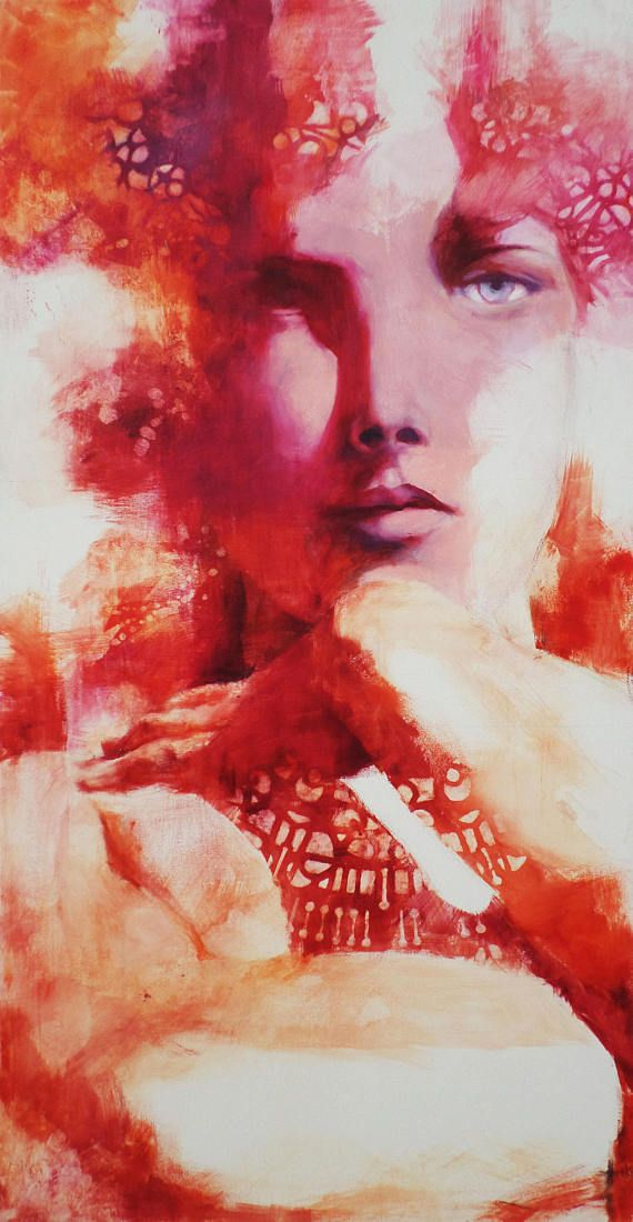 woman oil painting on canvas, red woman painting, red wall art, red wall decor  SIZE: 70 X 135 CM (27,5 X 53,1 INCH) MEDIUM: oil painting on canvas  This artwork is part of the series: LE PAROLE NON DETTE ( THE UNSPOKEN WORDS )  It talks about emotions which flow from ourselves,