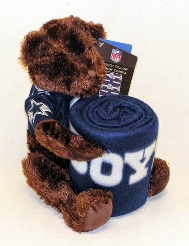 "Dallas Cowboys NFL 2 Piece Bear Mascot Pillow Fleece Throw Gift Set  14"" Plush Bear Pillow with Team Jersey 40"" x 50"" Team Blanket 100% Polyester Officially Licensed http://livinggood-entrepeneural.blogspot.com/2014/11/gift-ideas-for-dallas-cowboys.html"