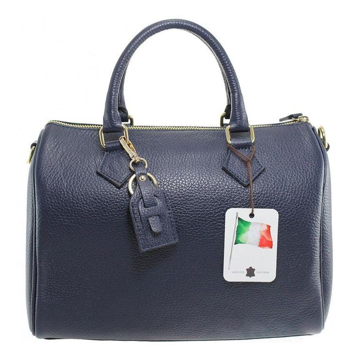 Modrá kufříková kabelka do ruky z pravé kůže Made in Itali T012