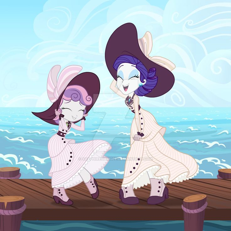 Commission: EQ Rarity and Sweetie Belle by SapphireGamgee