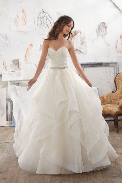 Romantic wedding dress idea - ball gown with strapless, sweetheart neckline and organza skirt. Style 5504 by @morileewedding