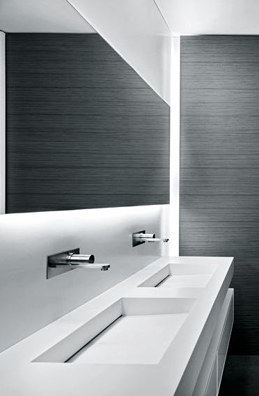 Architectural Details: liked the mirror backlighting and basin sink but with darker fixtures.