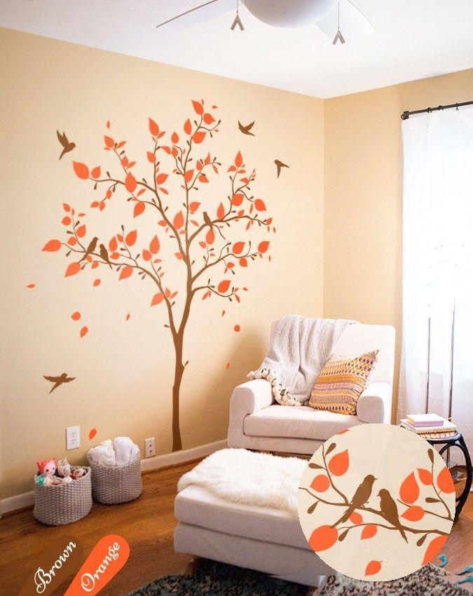 Brown Nursery tree with Orange Leaves Nursery wall ornament Children - http://babyfur.net/brown-nursery-tree-with-orange-leaves-nursery-wall-decoration-kids/