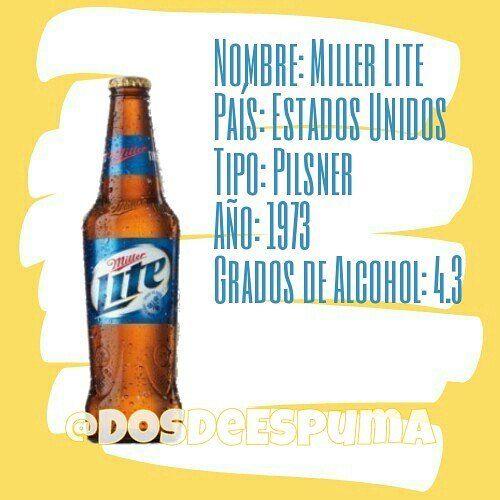 Miller Lite es una cerveza ligera de color dorada con 4,2% grados de alcohol. vendido por MillerCoors.