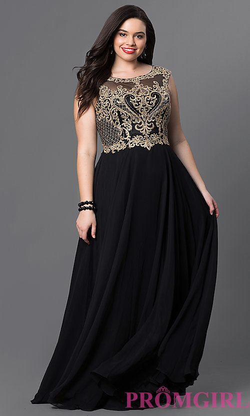 Image of long plus-size prom dress with embroidered bodice. Style: DQ-9266P Front Image