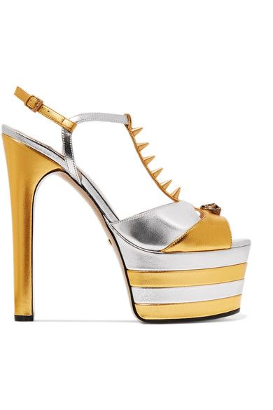 Gucci - Studded Two-tone Metallic Leather Platform Sandals - Gold - IT36.5