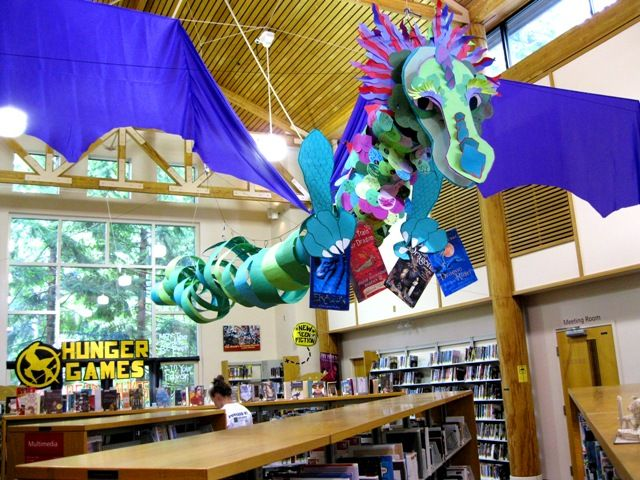 Dream Dragon Display for the Dream Big Library Reading Program. Each child who signs up gets to put their name on a scale, which are then added to the dragon.