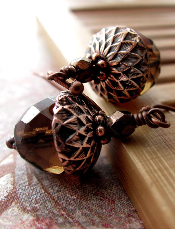 Brown Acorn Earrings with Antiqued Copper, Acorn Jewelry, Nature Jewelry, Gift for Nature Lover Gardener, Fall Wedding Bridesmaid Jewelry