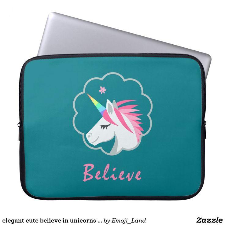 elegant cute believe in unicorns emoji laptop sleeve
