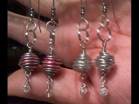 Wire wrapped caged dangle earrings - YouTube