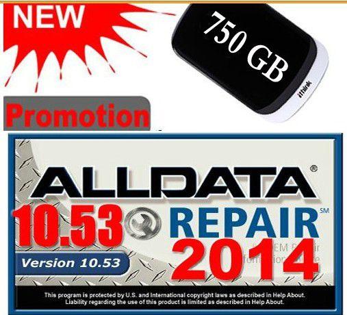 Software de la Reparación Auto DEL ALLDATA 10.53 TODOS LOS DATOS de Reparación de Automóviles Software con 3.0USB 750 GB de Disco Duro Envío Gratis