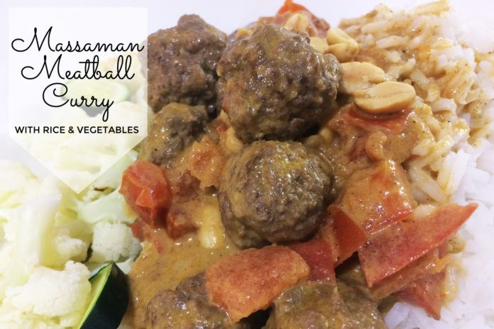 Massaman Meatball Curry with Rice and Vegetables Recipe