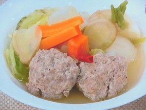 Huge meatball and veggies 1 serving  . . . . . でっかい肉だんごの春野菜煮  2016年3月31日 [NHKあさイチ]