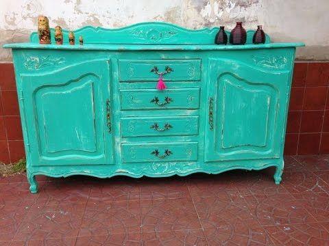 MUEBLE VINTAGE (CÓMO PINTAR DETALLES RÚSTICOS) Color menta, turquesa, ro...