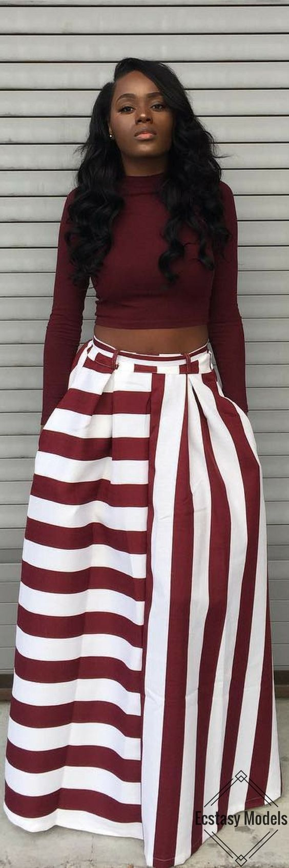 Red & White Stripe Skirt // Fashion Look by il0venish