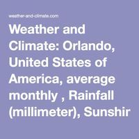 Weather and Climate: Orlando, United States of America, average monthly , Rainfall (millimeter), Sunshine, Temperatures (celsius), Sunshine, Humidity, Water Temperature, Wind Speed