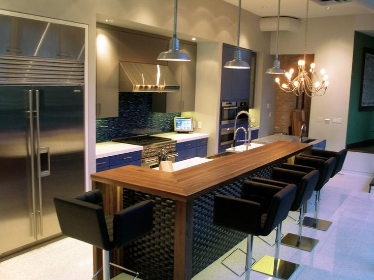 Walnut Wood Countertops For A Modern Raised Kitchen Island