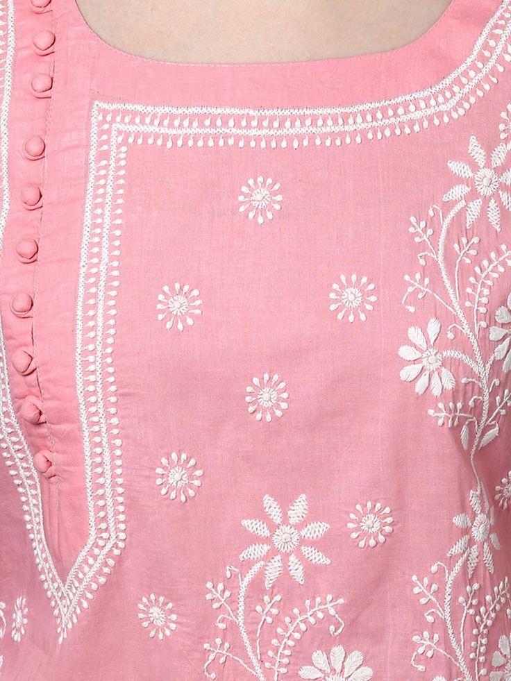 Pink Lucknowi Hand Embroidered Cotton Kurta