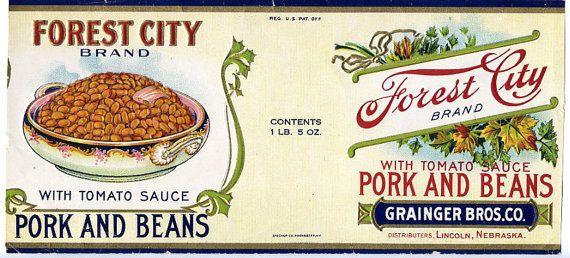 Vintage en conserve de porc et haricots Label